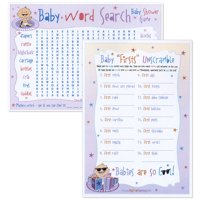 Baby Shower Two Games In One - Baby Word Search and Baby Firsts Unscramble - 18 Count