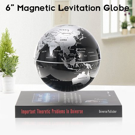 6 Inch Levitation Magnetic Rotate Globe Floating Levitating Earth Map With BookBase Black Desktop Decor Birthday Christmas Kid Gift Home Office Decor