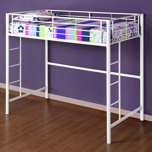 Twin Metal Loft Bed, Multiple Colors