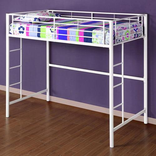 Twin Metal Loft Bed, Multiple Colors