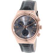 Swatch Men's Irony YCG411 Grey Leather Swiss Quartz Fashion Watch