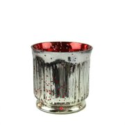 """Set of 4 Red and Silver Ribbed Mercury Glass Decorative Votive Candle Holders 3.25"""""""