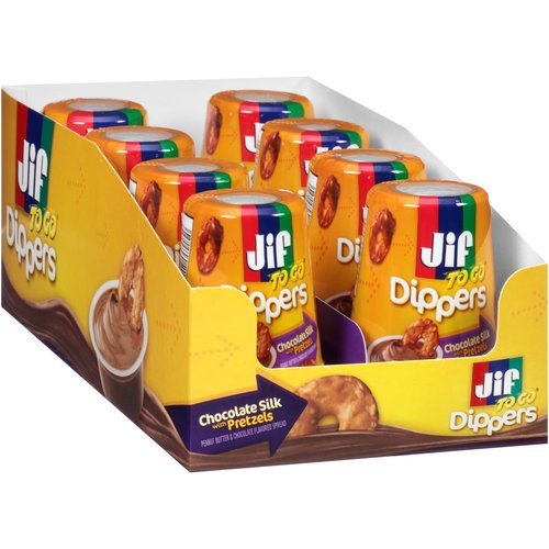 Jif To Go Chocolate Silk Peanut Butter with Pretzels Dippers, 1.69 oz, 8 count