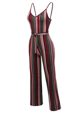 FashionOutfit Women's Sleeveless Strap Printed Self Tied Sexy Romper Jumpsuit