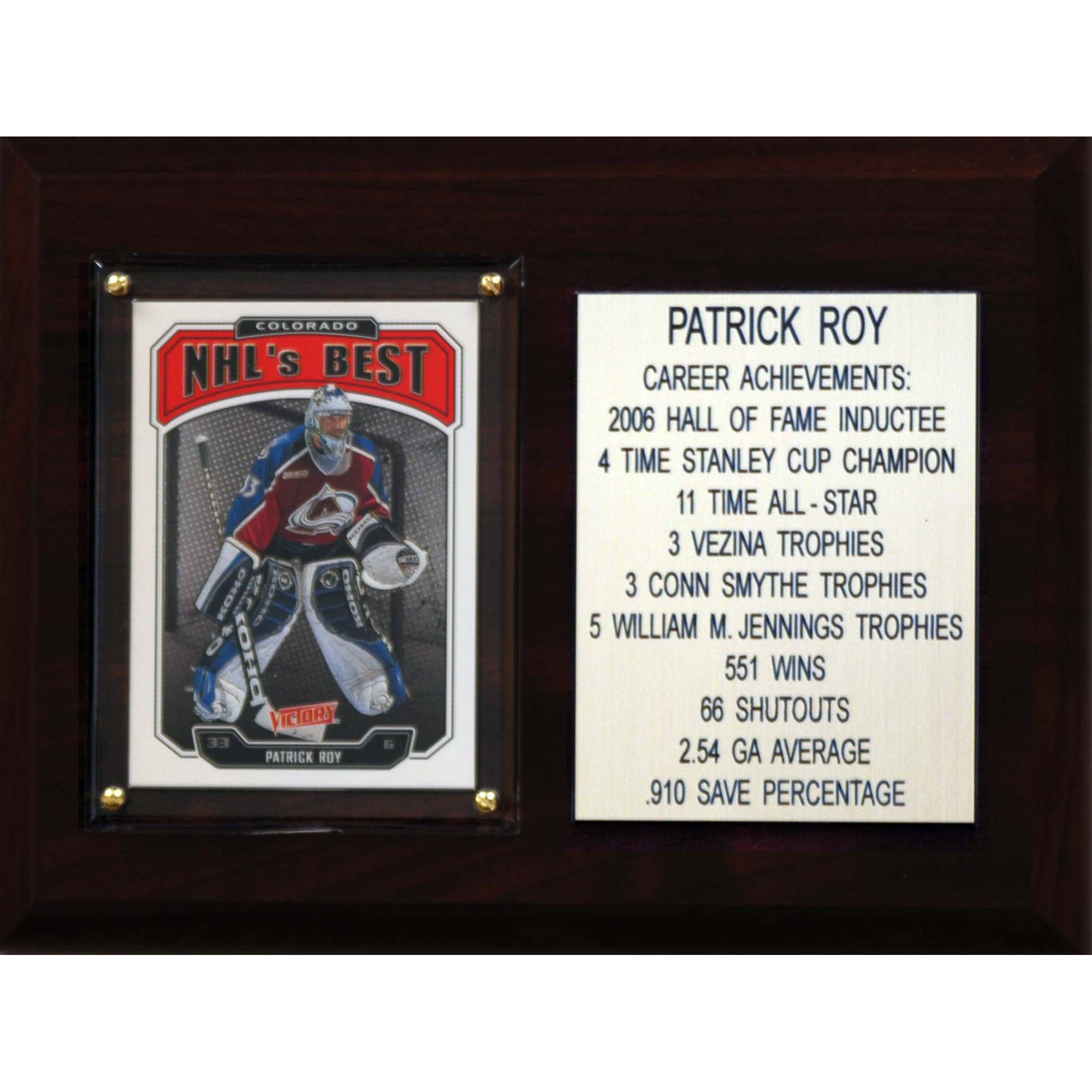C&I Collectables NHL 6x8 Patrick Roy Colorado Avalanche Career Stat Plaque