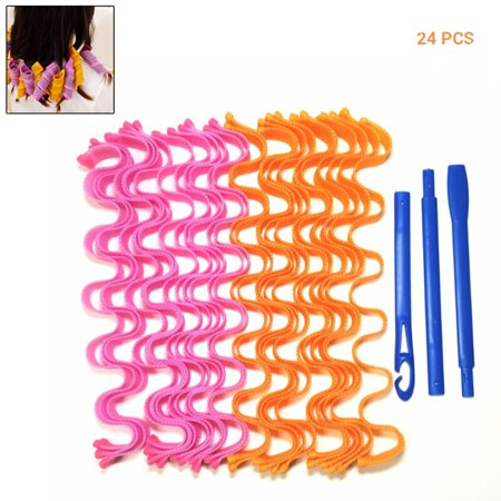 Magic Long Hair Curlers Curl Formers Leverage Rollers Spiral Ringlets Hot New Wave Formers DIY Curl Formers (50cm/24 (No Heat Curls For Long Thick Hair)