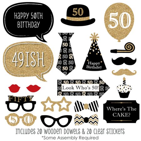 Adult 50th Birthday - Gold - Photo Booth Props Kit - 20 Count](50th Birthday Accessories)