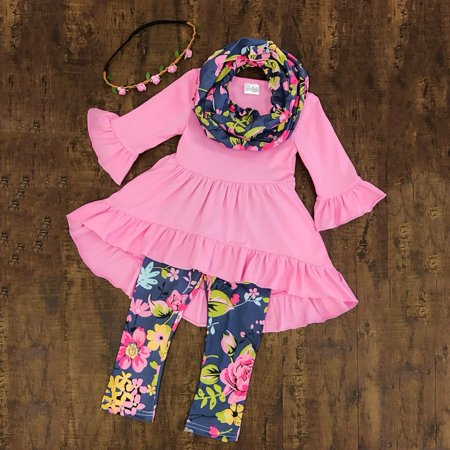 Toddler Baby Girls Flower Top Blouse Pants Leggings Outfits Set Clothes 3Pcs (Frozen Outfits For Girls)