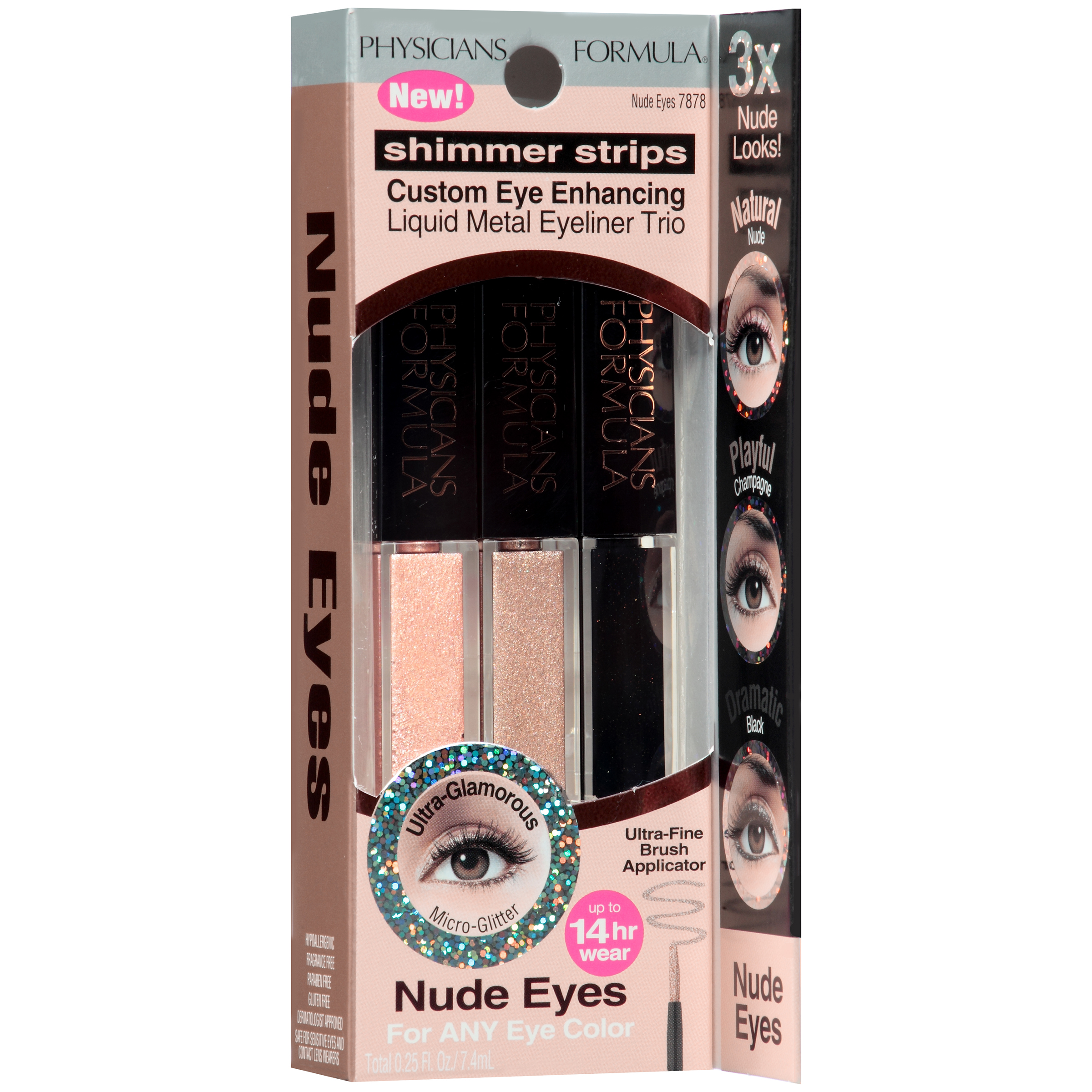 Physicians Formula�� Shimmer Strips Nude Eyes Custom Eye Enhancing Liquid Metal Eyeliner Trio 0.25 fl. oz. Box