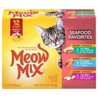 (Pack of 12) Meow Mix Savory Morsels Seafood Favorites Variety Pack, 2.75-Ounce Cups