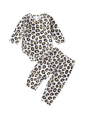 2PCS Newborn Baby Girl Boy Tops Romper +Long Pants Troers Outfits Clothes Sets