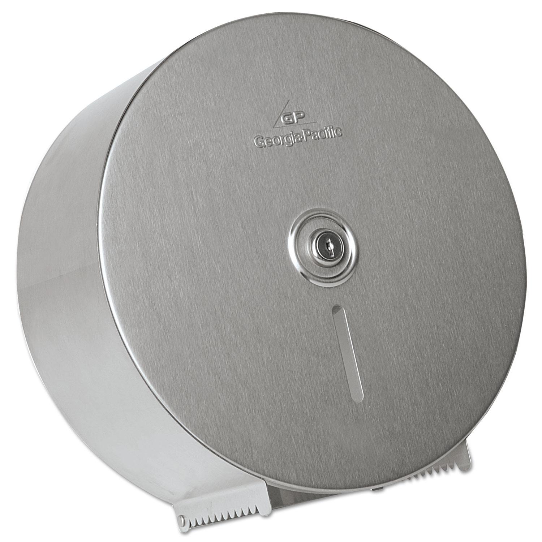 """Stainless Steel Jumbo Roll Tissue Dispenser, 14 1/4"""" Diameter, 4.44""""D"""