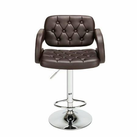 Noroomaknet Adjustable High Bar Chair Set of 2, Leather Bar Stools with Arm Rest and Back Sets,Disk Armrest Square Backrest Button Design Bar Stools Coffee