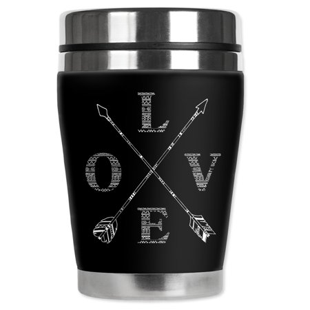 Mugzie brand 12-Ounce Travel Mug with Insulated Wetsuit Cover - Love - Arrow Suit