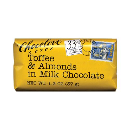 Mini 33% Toffee & Almonds in Milk Chocolate bar - disp 1.3 oz : 12 Count