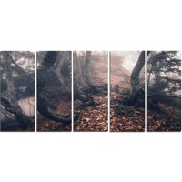 Design Art Autumn Foggy Forest Trees 5 Piece Wall Art on Wrapped Canvas Set