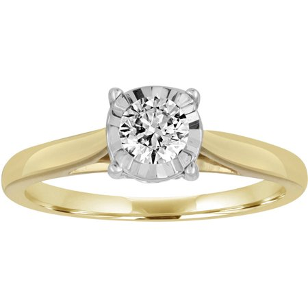 1/2 Carat T.W. Diamond 10kt Yellow Gold Miracle Plate Solitaire Engagement Ring
