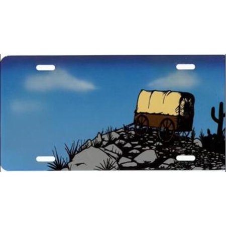 Western Carriage On Cliff License Plate   Free Personalization On This Air Brush