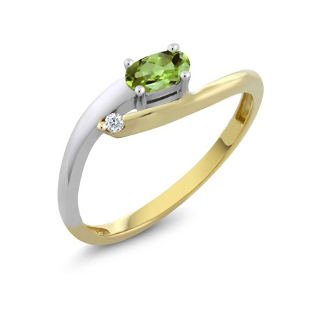 Women's Oval Green Peridot 18K Two Tone Gold Diamond -