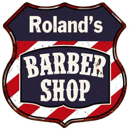 Roland's Barber Shop Personalized Shield Metal Sign Hair Gift 211110020226