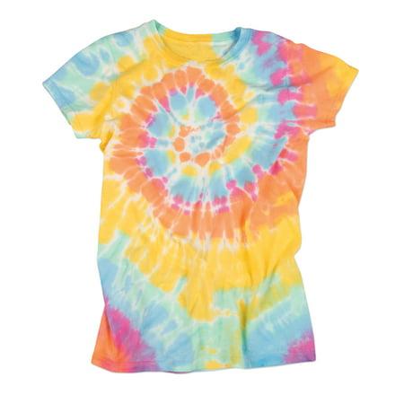 7f9407c19c2 AARON - bright flourescent pastel aerial swirly spiral juniors tie dye t-shirt  tee