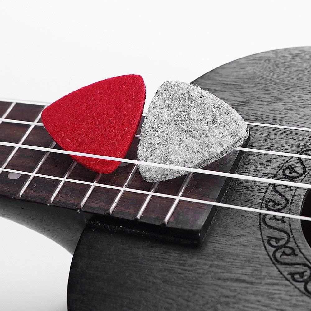 Felt Ukulele Picks,10 Piece Mixed Felt Pick for Ukulele Guitar Bass with pick holder case