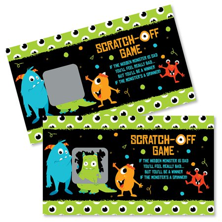 Monster Bash - Little Monster Birthday Party or Baby Shower Game Scratch Off Cards - 22 Count - Toddler Birthday Games