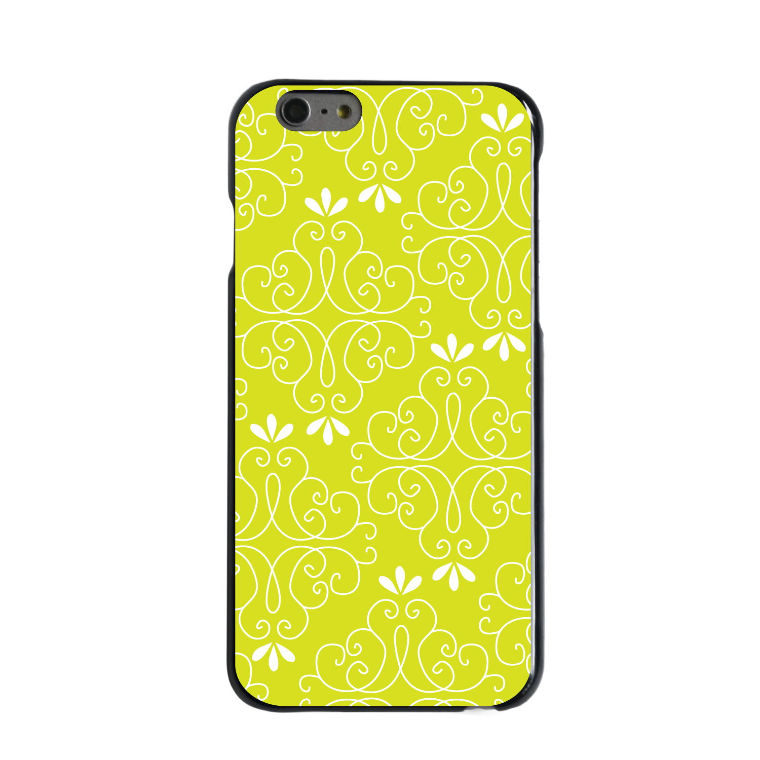"""CUSTOM Black Hard Plastic Snap-On Case for Apple iPhone 6 PLUS / 6S PLUS (5.5"""" Screen) - Yellow White Floral"""