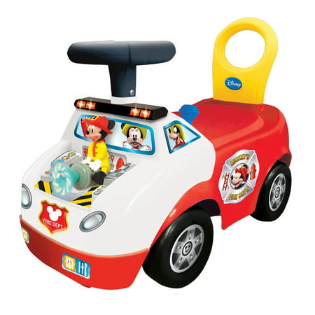 Kiddieland Disney Mickey Mouse Fire Truck Activity Interactive Ride On Car, - Disney Toy Cars