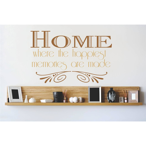 Design With Vinyl Home is Where Love Resides, Memories Are Created, Friends Are Welcome and Laughter Wall Decal