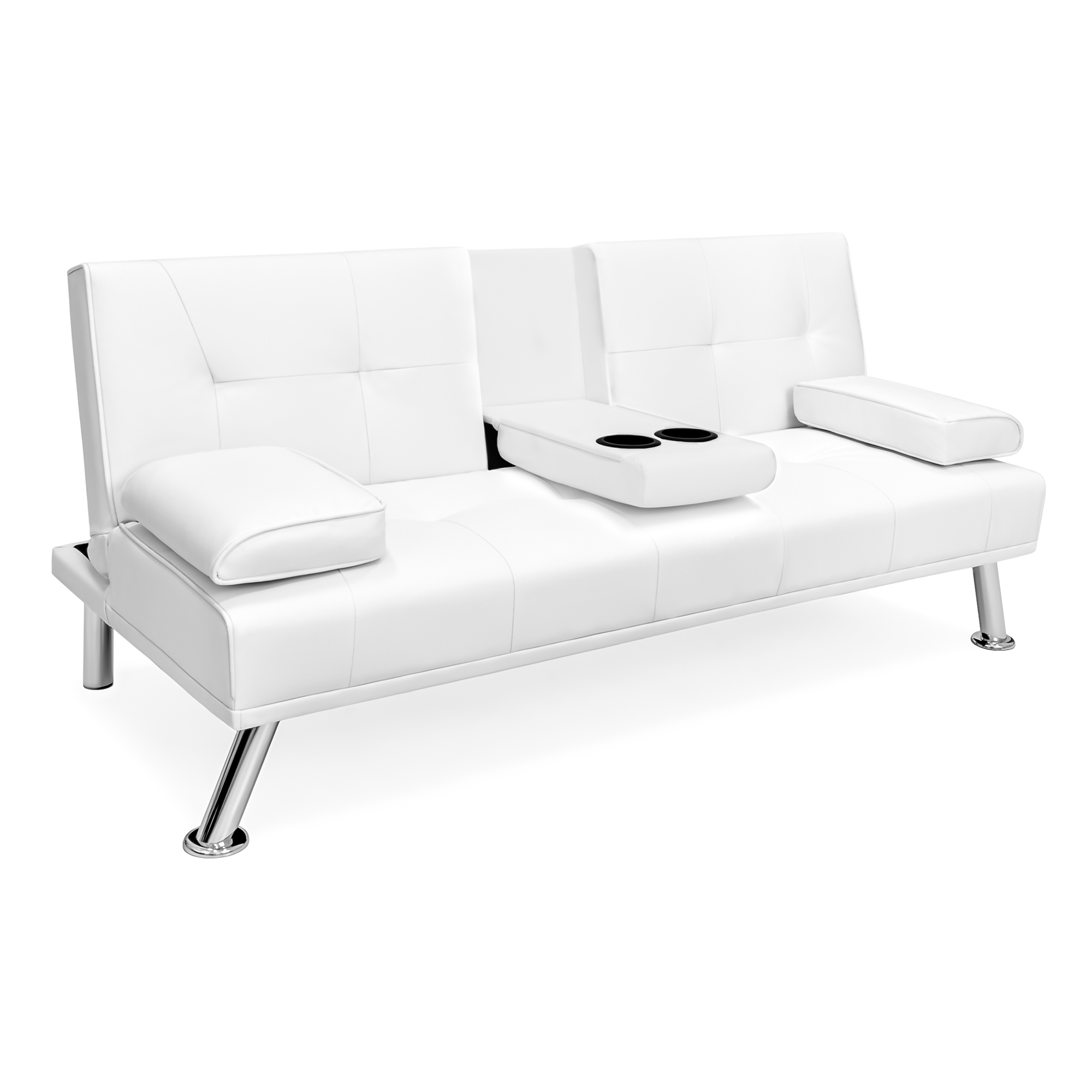 Futon Sleeper Sofa Modern White Faux Leather Fold Down Recliner Cup Holders Wide