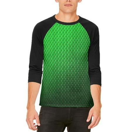 Light Up Halloween Shirts (Halloween Green Earth Dragon Scales Costume Mens Raglan T)