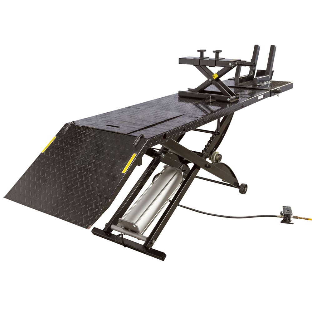 Black Widow Motorcycle Lift Table with Cruiser V-Twin Center Jack