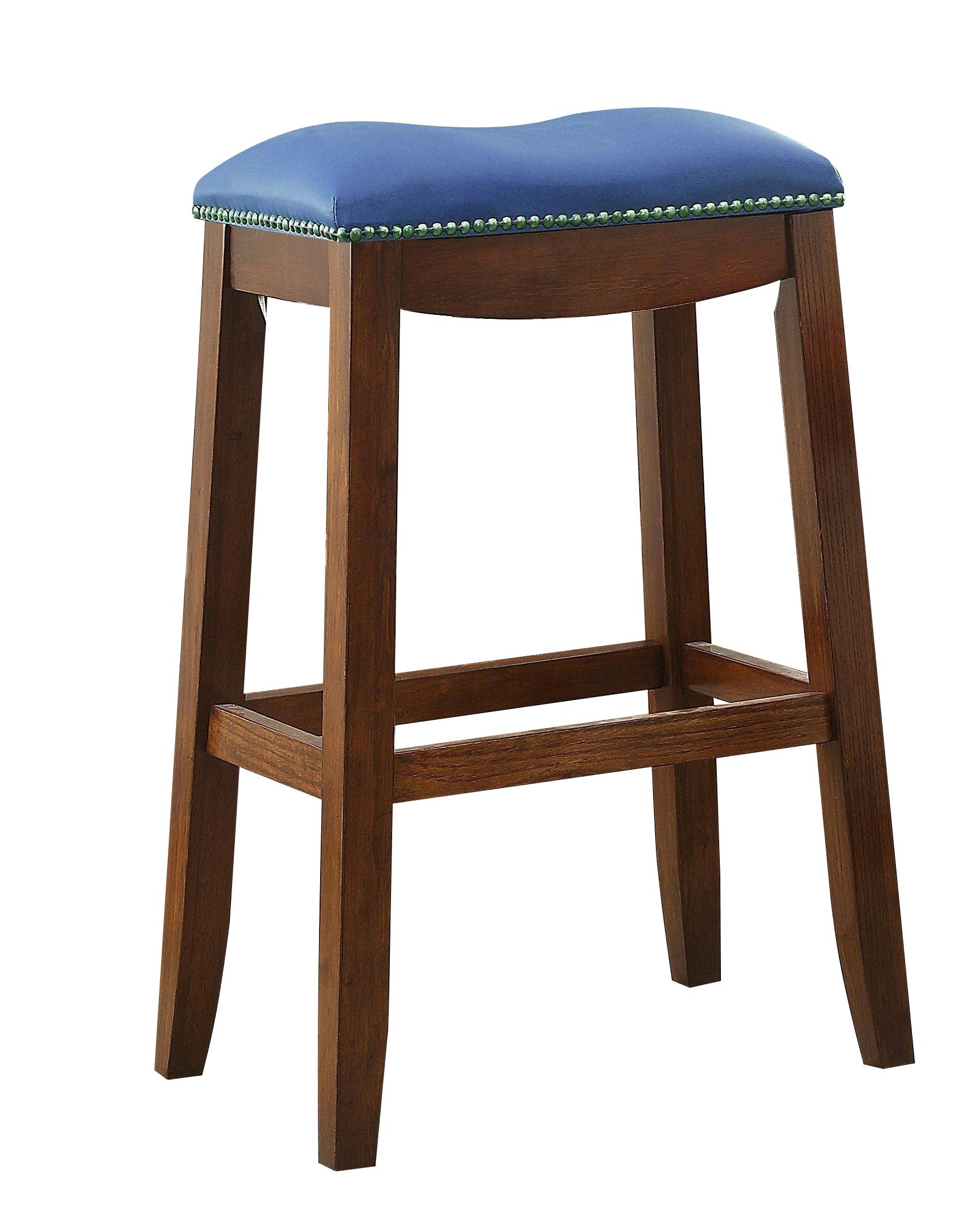 ACME Delta Bar Stool, Blue PU & Oak (Set of 2) by Acme Furniture