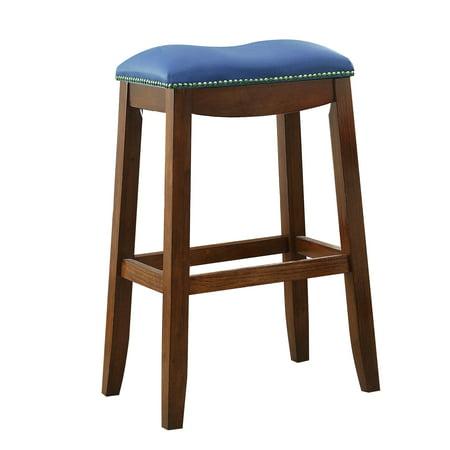 ACME Delta Bar Stool, Blue PU & Oak (Set of 2)