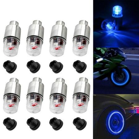 4pcs LED Wheel Tire Tyre Valve Caps Blue Neon Light for Car Motorcycle
