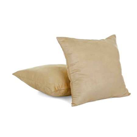 Pack of 2 Solid Faux Suede Decorative Throw Pillow Covers-Hidden Zipper Closure-Wrinkle Resistant (18x18, Beige) ()