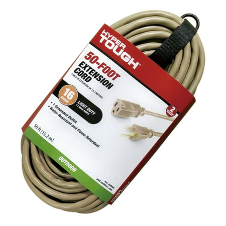 Hyper Tough 50FT 16AWG 3 Prong Tan Single Outlet Outdoor Extension Cord
