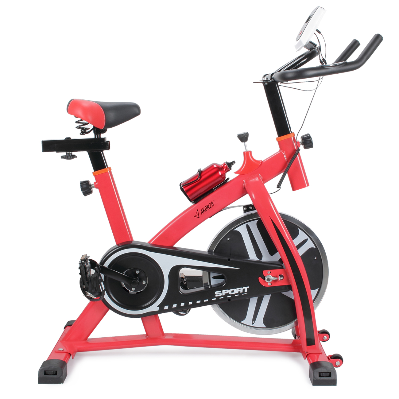 Akonza Stationary Exercise LED Display Cycling Bicycle Heart Pulse Trainer Bike w/ Water Bottle Holder, Red
