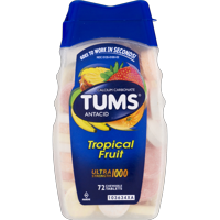 Tums Ultra, Assorted Tropical Fruit, 72 Chewable Tablets, (Pack of 2)