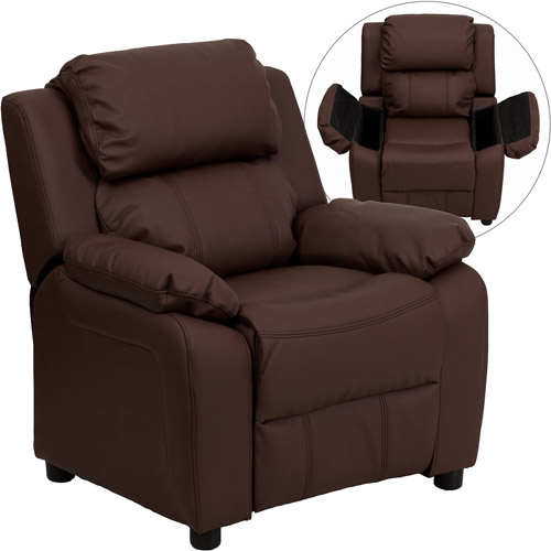 Flash Furniture Kids' Recliner with Storage Arms, Brown Leather