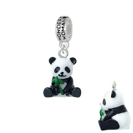 Resin Panda Bear   Wonder Woman Charm Bead
