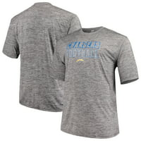 Men's Majestic Heathered Gray Los Angeles Chargers Big & Tall Last Chance Ply Reflective T-Shirt