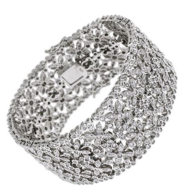 CZ BR11 Huge Flower Actress Cubic Zirconia Silver Bangle Bracelet Engagement Jewelry