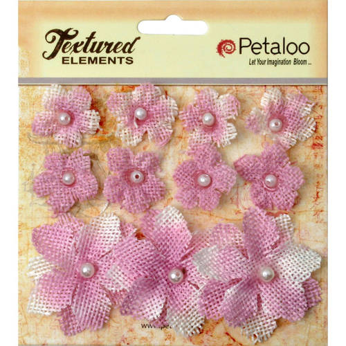 "Textured Elements Burlap Mini Flowers, .75"" To 1.5"", 11-Pack"