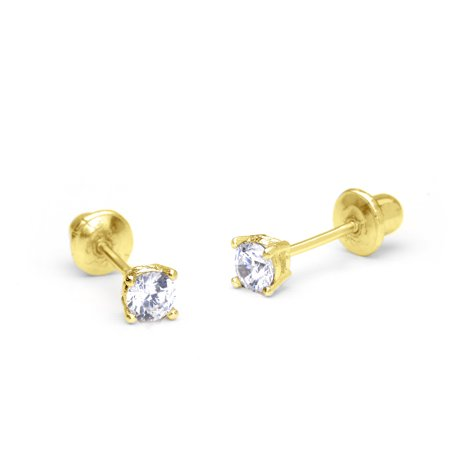 14k Yellow Gold 2mm Basket Round Cubic Zirconia Solitaire Children Screw Back Baby Girls (Best Earring Backs For Toddlers)