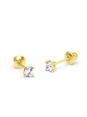 def1c0127 Product Image 14k Yellow Gold 2mm Basket Round Cubic Zirconia Solitaire Children  Screw Back Baby Girls Earrings