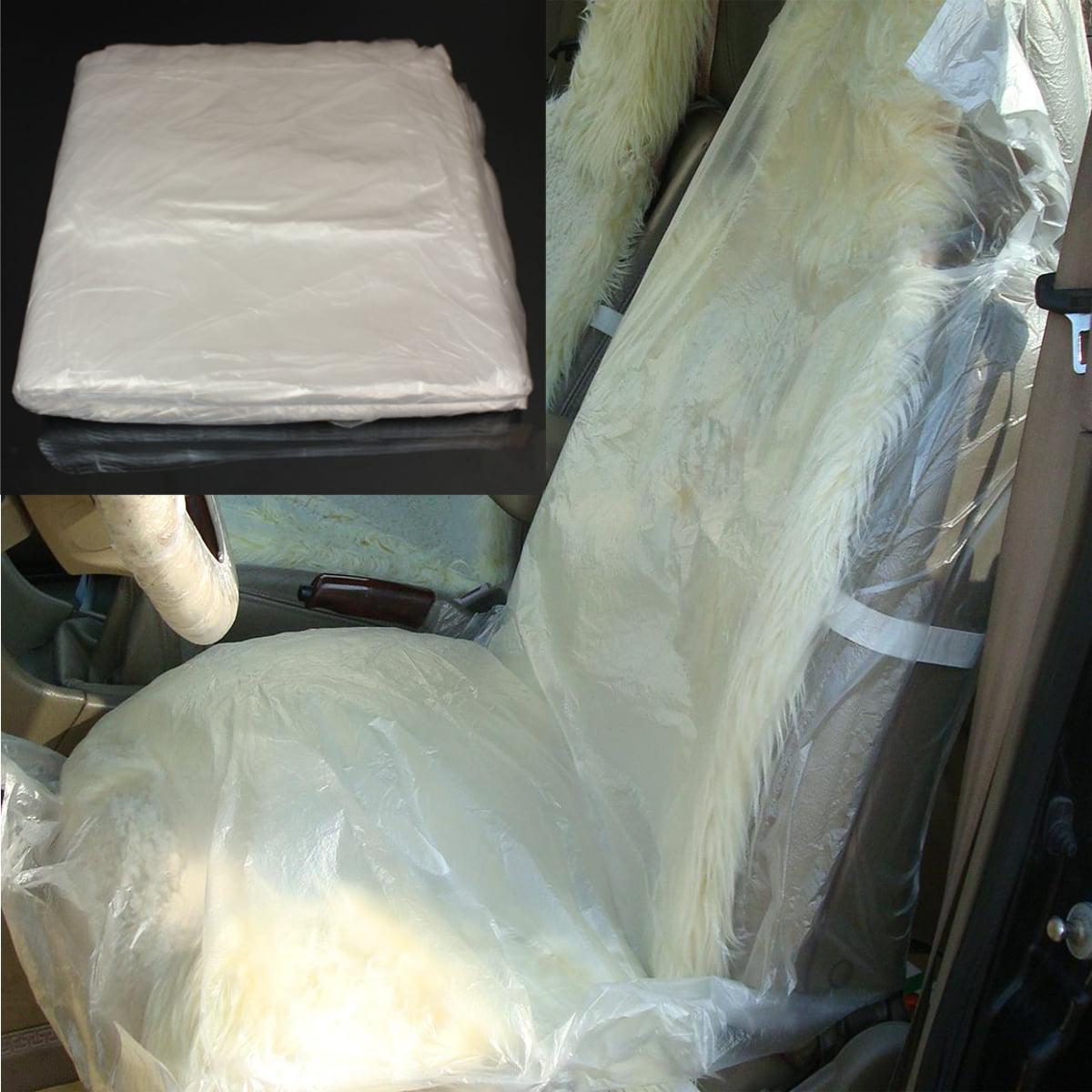 100pcs Pack Disposable Clear Plastic Seat Protect Cover Protector Mechanic Valet Waterproof Dust Water Resistant Vehicle SUV Van Caravan Truck US