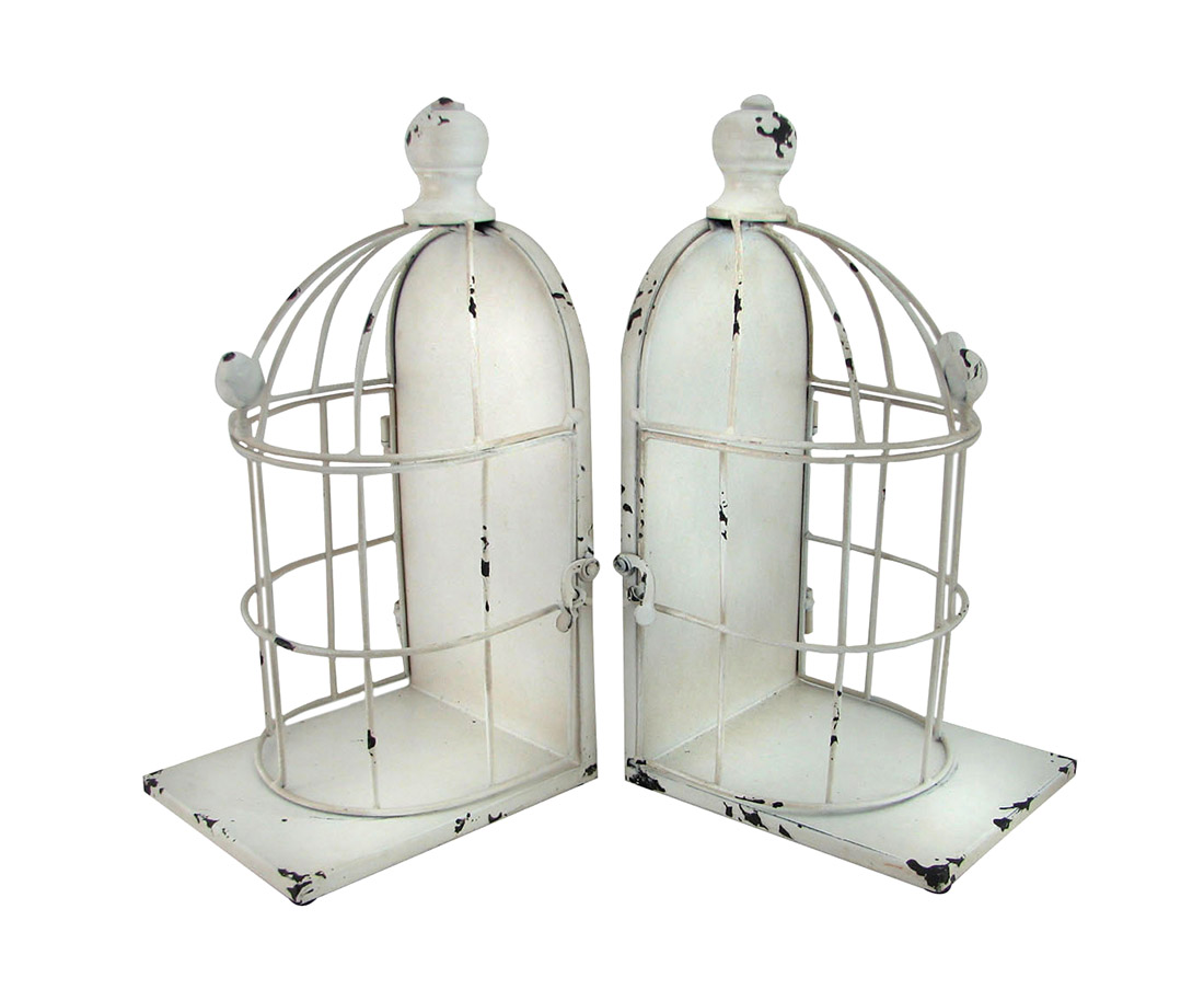Distressed White Enamel Finish Bird Cage Bookends Set of 2 by Home View Design, Inc.