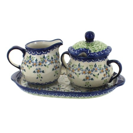 - Polish Pottery Summer Vine Sugar & Creamer with Tray
